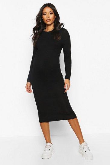 Black Maternity Basic Bodycon Dress
