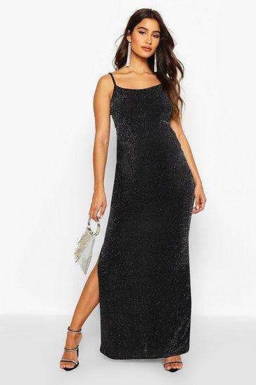 Silver Maternity Shimmer Side Split Maxi Dress