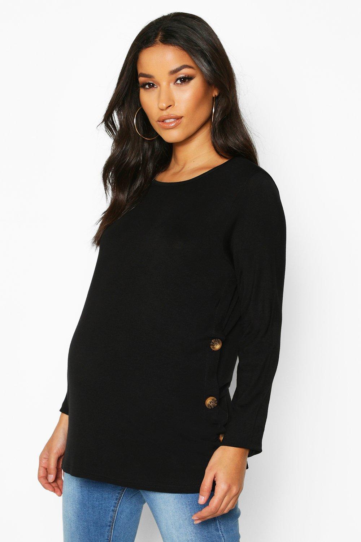 Womens Umstandsmode T-Shirt zum Stillen mit Knopfleiste - schwarz - 34, Schwarz - Boohoo.com