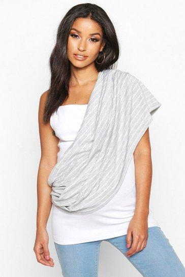 Grey Maternity Stripe Nursing Shawl