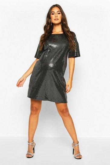 Silver Maternity Sequin Shift Dress