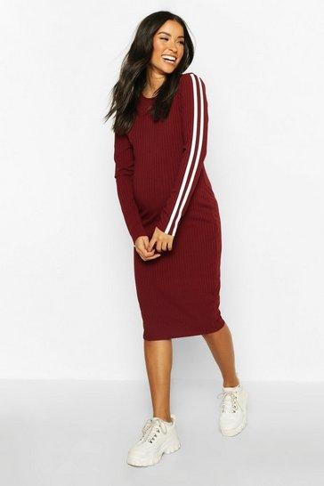 Wine Maternity Long Sleeve Stripe Rib Bodycon Dress