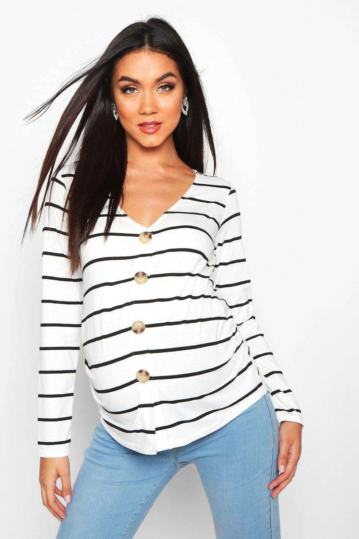 Womens Umstandsmode T-Shirt mit Knopfleiste vorn und Streifen - creme - 34, Creme - Boohoo.com