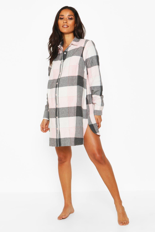 Womens Umstandsmode kariertes Nachthemd aus Webstoff - rosa - 34, Rosa - Boohoo.com