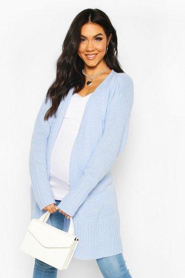Powder blue Maternity Tie Waist Longline Wrap Cardigan