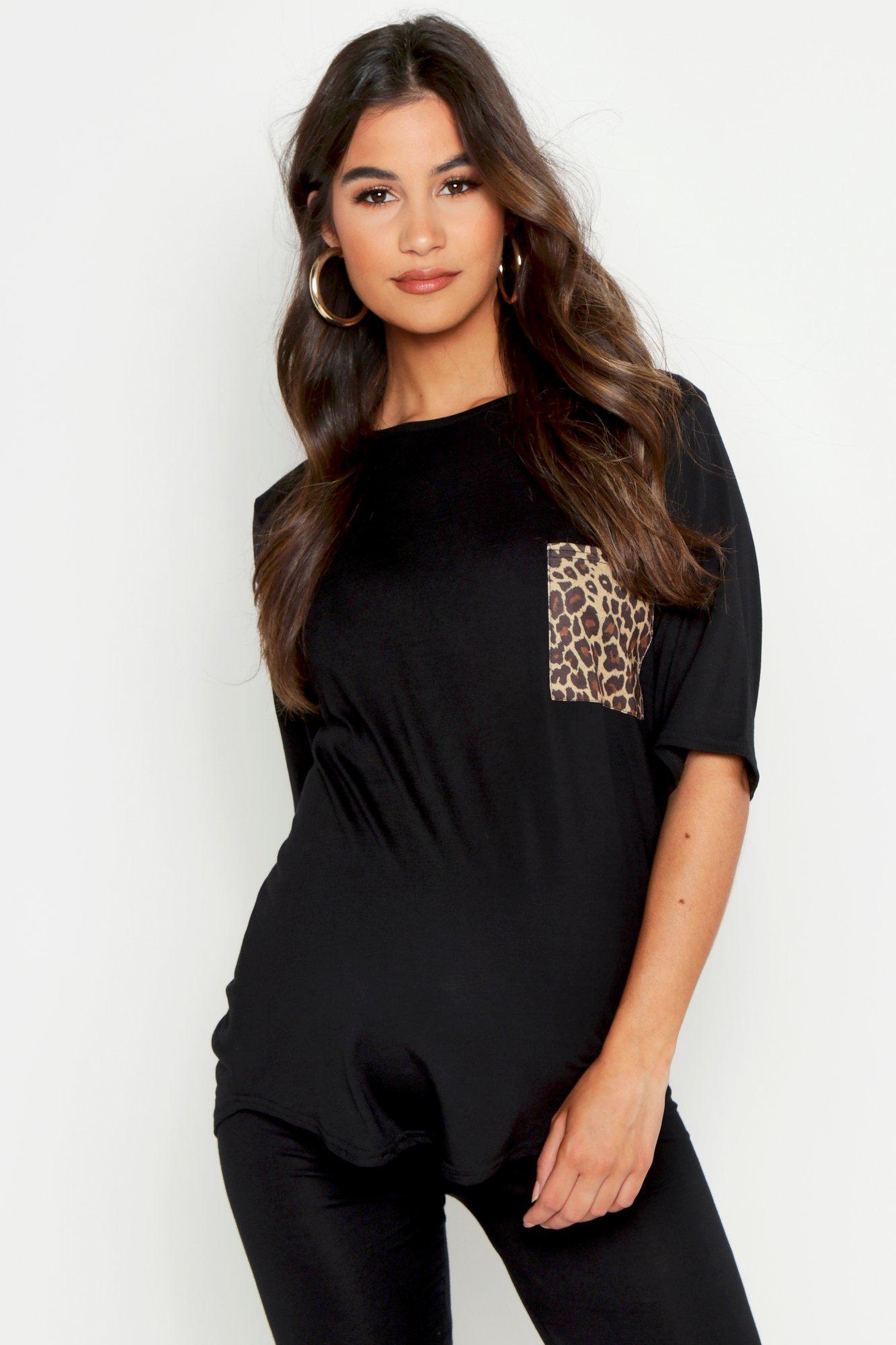 Womens Umstandsmode T-Shirt mit Tasche in Leoparden-Print - schwarz - 36, Schwarz - Boohoo.com