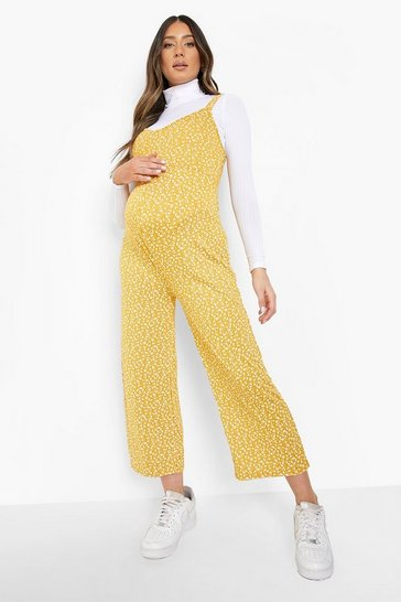 Mustard Maternity Ditsy Floral Culotte Jumpsuit