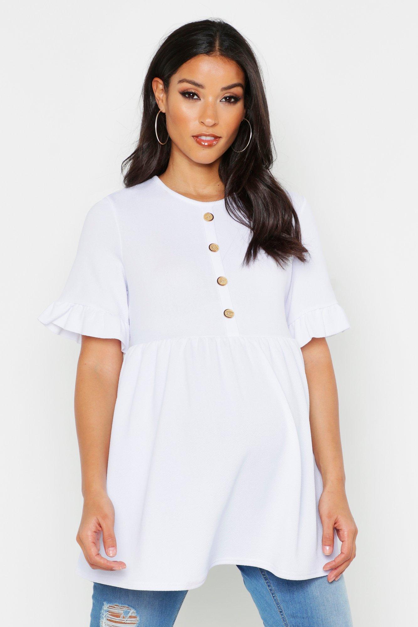 Womens Umstands-Shirt mit Knopfleiste und Rüschenärmeln - Weiß - 36, Weiß - Boohoo.com