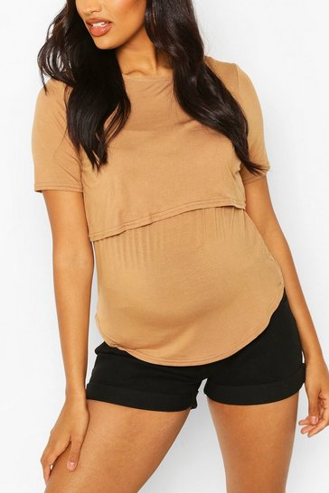 Camel Maternity Double Layer Nursing Tee