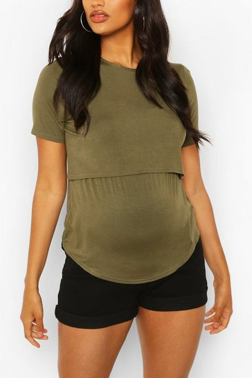 Khaki Maternity Double Layer Nursing Tee