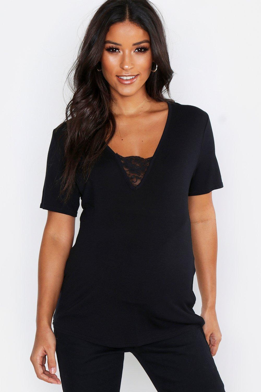 Womens Umstandsmode T-Shirt mit Spitzenbesatz und V-Ausschnitt - schwarz - 34, Schwarz - Boohoo.com
