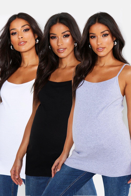 Womens Umstandsmode gerippte vest Tops, 3er-Pack - Mehrfarbig - 36, Mehrfarbig - Boohoo.com