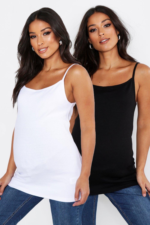 Womens Umstandsmode vest Tops, 2er-Pack - Mehrfarbig - 36, Mehrfarbig - Boohoo.com