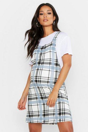Cream Maternity Oversized Check Pinafore Dress