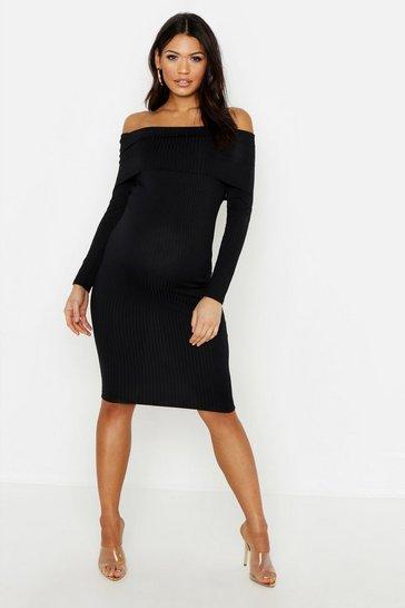 Black Maternity Jumbo Rib Bardot Midi
