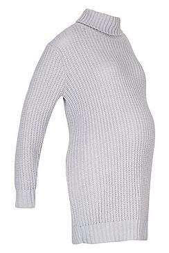 Maternity Soft Knit Roll Neck Jumper Dress