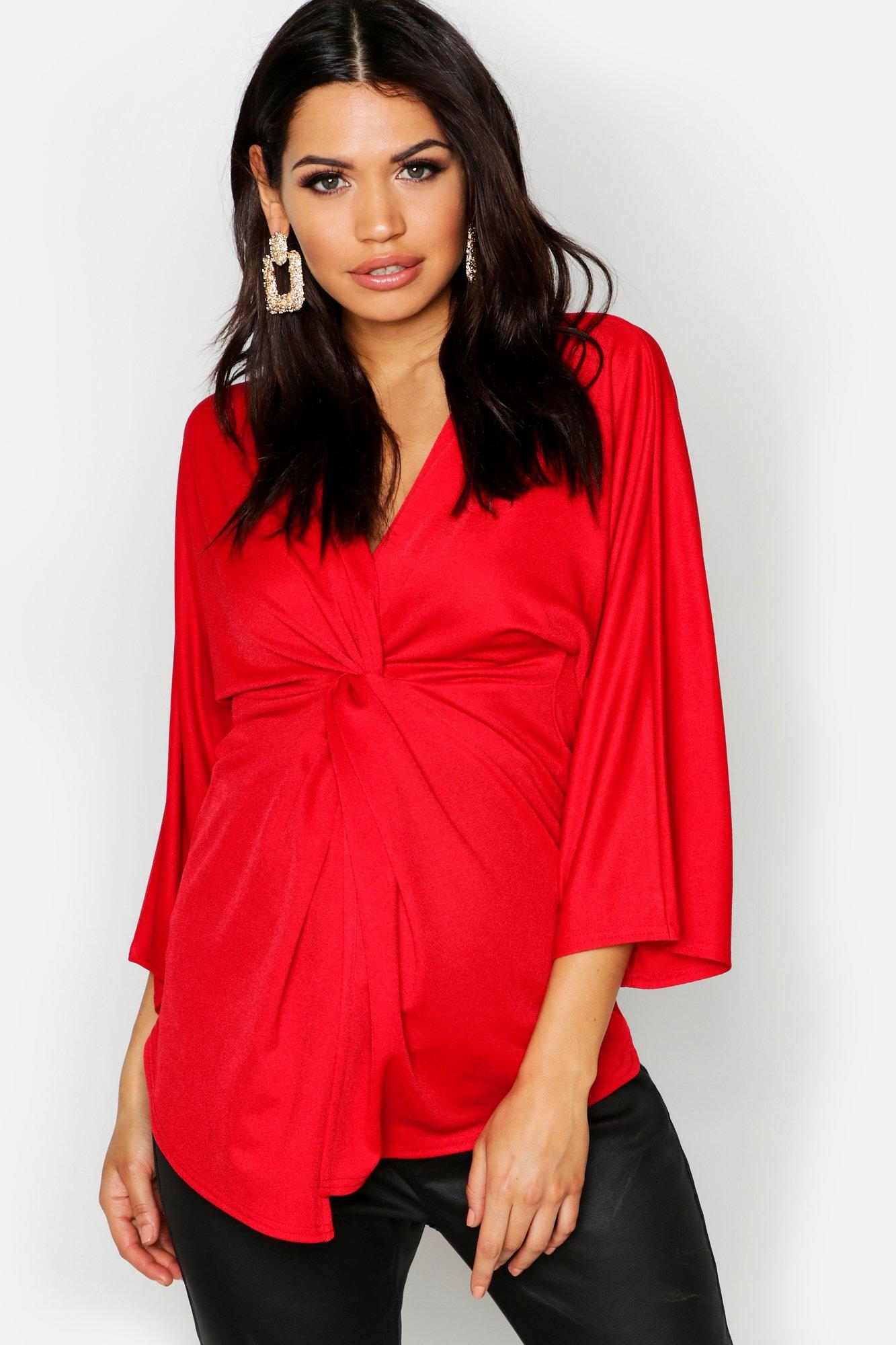 Купить Топы, Блузка с длинными рукавами с перекрученным элементом спереди для беременных, boohoo