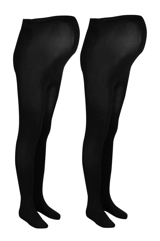 boohoo Womens Maternity 2 Pack 80 Denier Tights - Black - One Size, Black