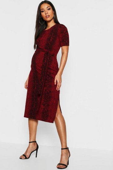 Red Maternity Snake Tie Front Midi Dress