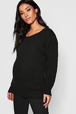 Pullover premaman in maglia con scollo a barchetta