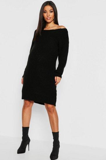 Black Maternity Slit Neck Knitted Jumper Dress
