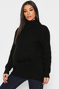 Pullover premaman dolcevita in maglia morbida