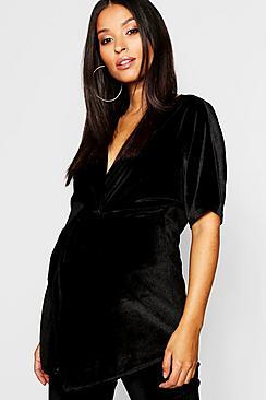 Umstandsmode Samt Bluse mit gedrehter Front und Kimono Ärmel - Boohoo.com