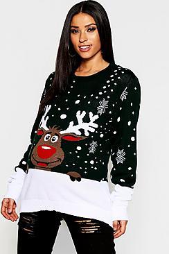 Pullover natalizio con renne premaman