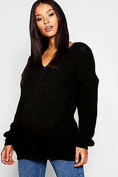 Abito maglione premaman con parte anteriore a trecce