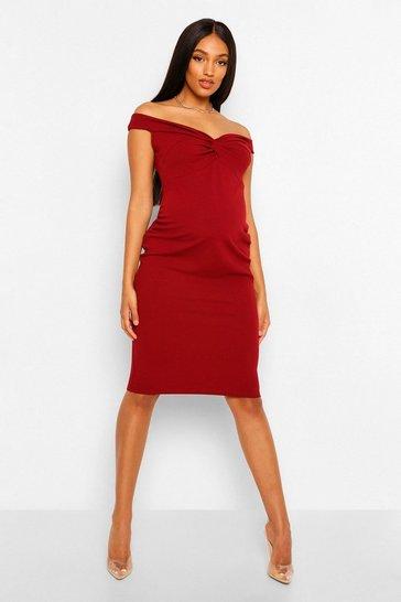 Wine Maternity Twist Front Off The Shoulder Midi Dress