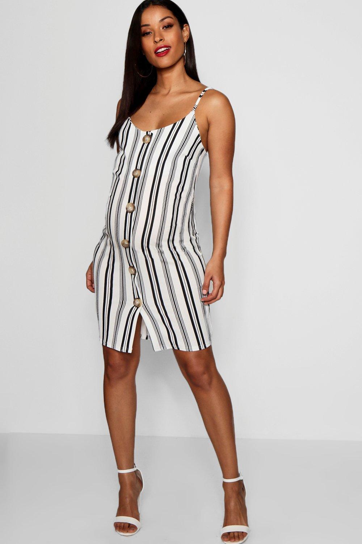 Купить Dresses, Свободное платье мини в полоску для беременных на роговых пуговицах с бретелями, boohoo