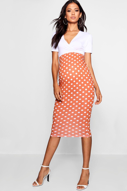 Купить Skirts, Юбка миди для беременных в горох со вставкой для живота, boohoo