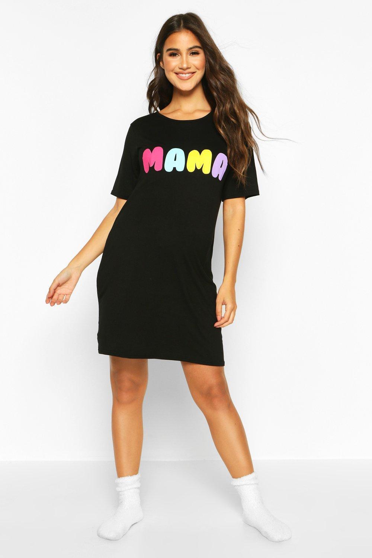 Womens Mama Mama Nachthemd - schwarz - 38, Schwarz - Boohoo.com