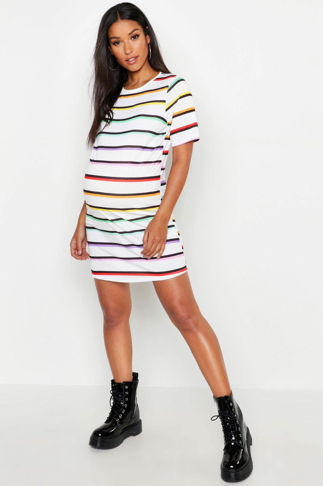 Купить Dresses, Maternity Rainbow Stripe T-Shirt Dress, boohoo