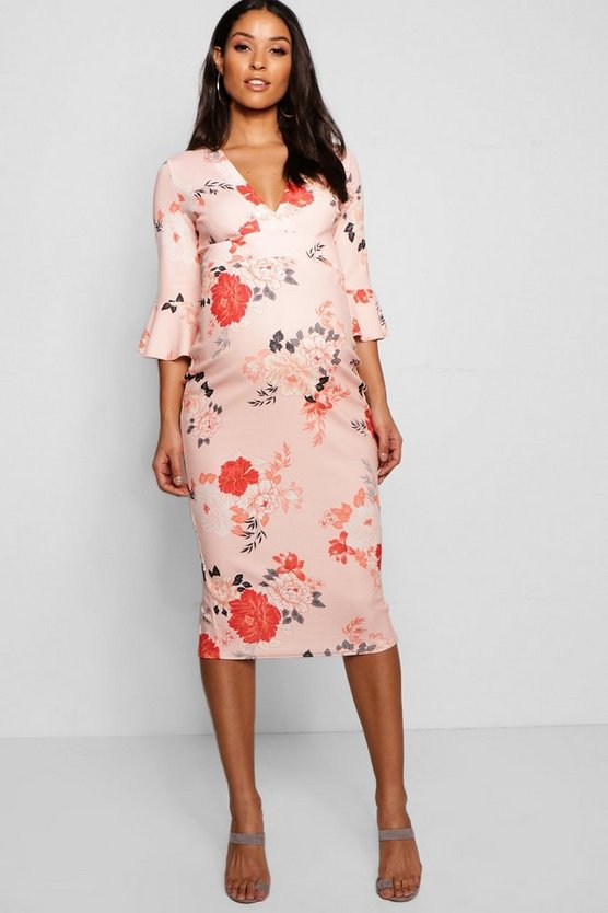 Maternity Rose Floral Plunge Neck Midi Dress