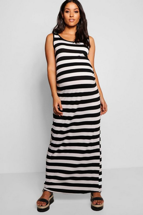 Maternity Lisa Stripe Basic Maxi Dress