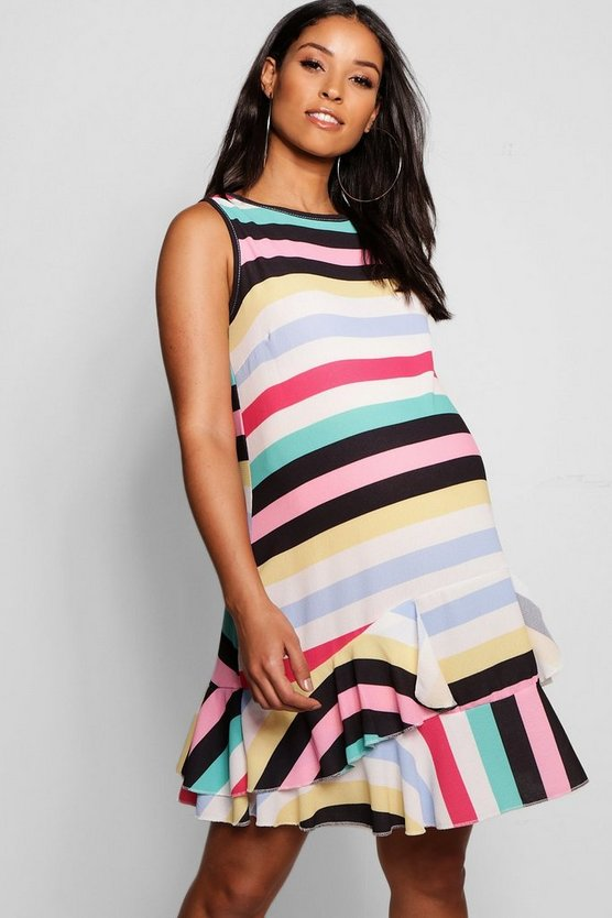 Maternity Rainbow Stripe Ruffle Smock Dress