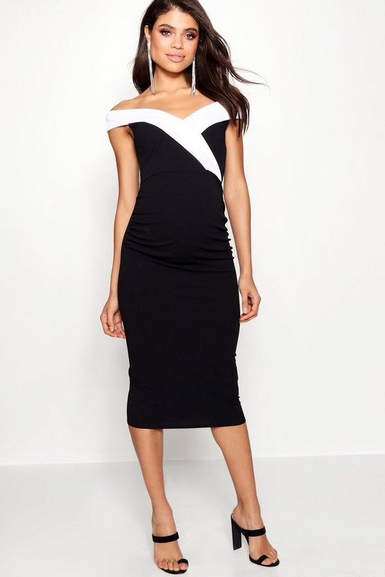 Maternity Contrast Lapel Bardot Dress