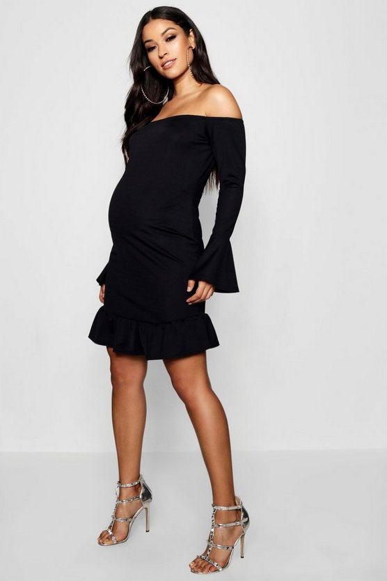 Maternity Fluted Sleeve Bardot Dress
