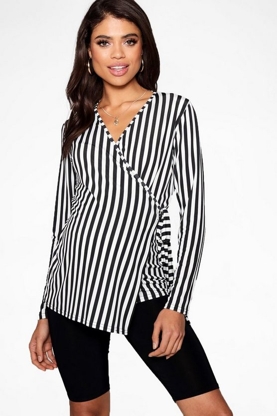 Maternity Stripe Long Sleeve Wrap Top