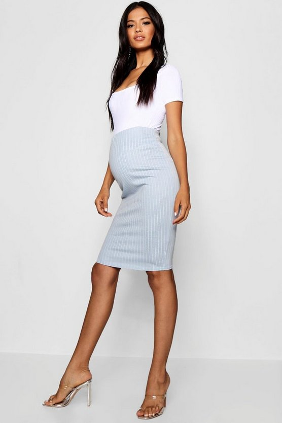 Maternity Stripe Over The Bump Midi Skirt