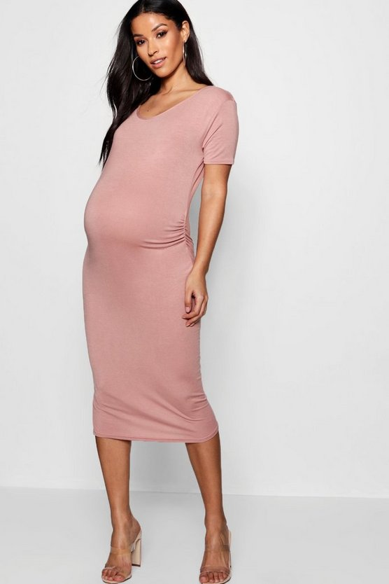 Maternity Short Sleeve Midi Dress