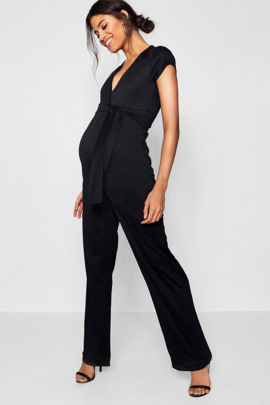 Maternity Nina Short Sleeve Tie Font Jumpsuit