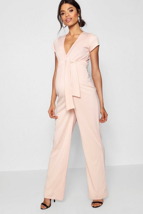 Maternity Short Sleeve Tie Font Jumpsuit