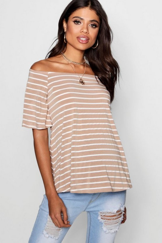 Maternity Mia Off Shoulder Stripe Top