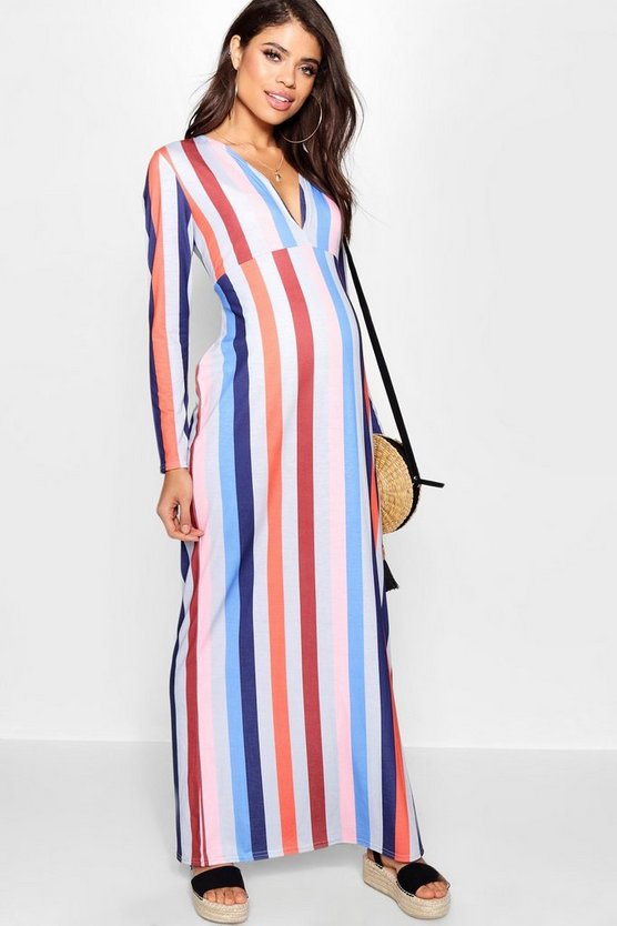 Maternity Stripe Plunge Maxi Dress