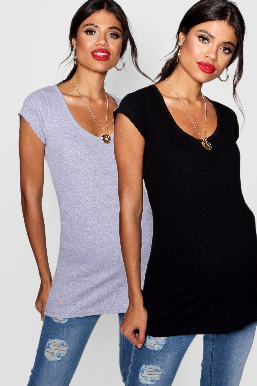 Womens Umstandsmode gerippte T-Shirts mit Überbauchbund, 2er-Pack - Mehrfarbig - 38, Mehrfarbig - Boohoo.com