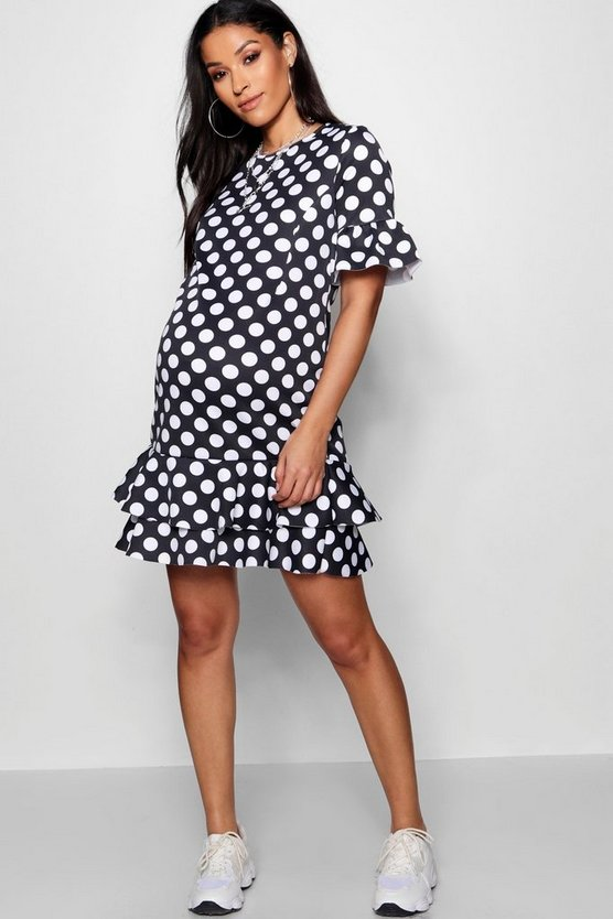 Maternity Kat Polka Dot Ruffle Smock Dress