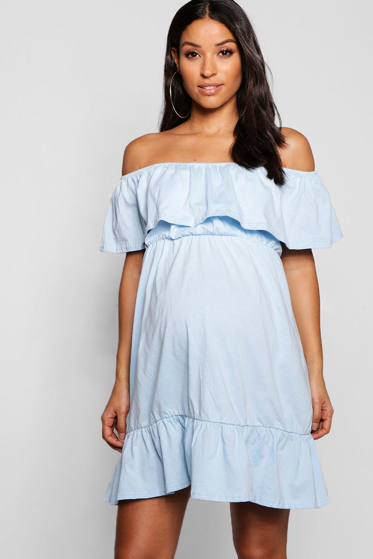 Купить Dresses, Платье для беременных с открытыми плечами, со сборками и оборками, boohoo