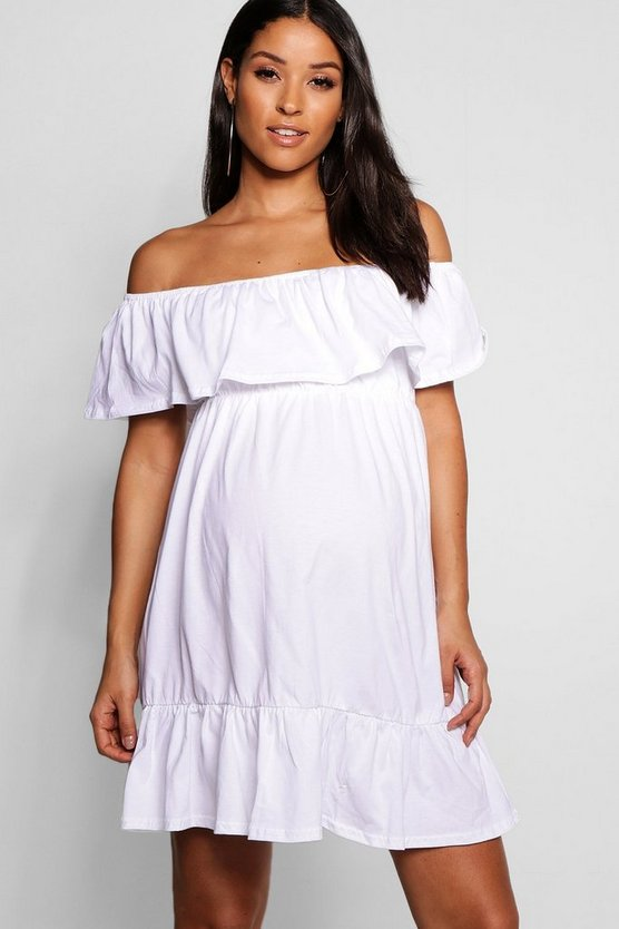 Maternity Off Shoulder Ruffle Smock Dress